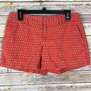 LOFT Orange Ikat Print Chino Shorts Size 4 B58